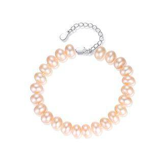 BELEC 925 Sterling Silver Fashion Elegant Pink Freshwater Pearl Beaded Bracelet Silver - One Size