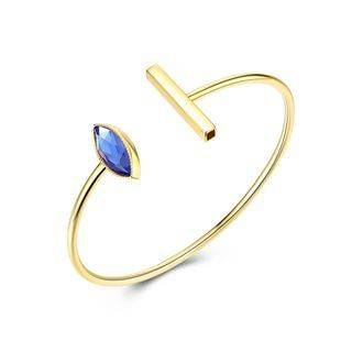 BELEC 925 Sterling Silver Gold Plated Simple Elegant Fashion Eye Shape Open Bangle with Blue Austrian Element Crystal Golden - One Size
