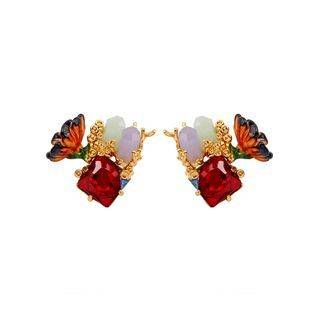 BELEC Fashion and Elegant Plated Gold Flower Enamel Stud Earrings with Cubic Zirconia Golden - One Size