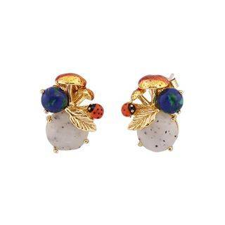 BELEC Fashion and Elegant Plated Gold Enamel Ladybug Earrings with Cubic Zirconia Golden - One Size