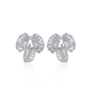 BELEC Fashion Bright Leaf Cubic Zirconia Stud Earrings Silver - One Size