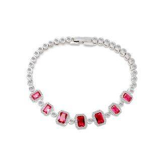 BELEC Fashion and Elegant Geometric Square Red Cubic Zirconia Bracelet 17cm Silver - One Size
