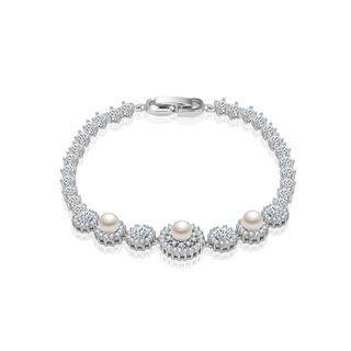 BELEC Elegant and Fashion Geometric Pattern Imitation Pearl Bracelet with Cubic Zirconia 19cm Silver - One Size