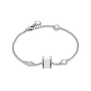 BELEC 925 Sterling Silver Elegant Fashion Flower Adn Prayer Wheel Bracelet with White Ceramic Silver - One Size