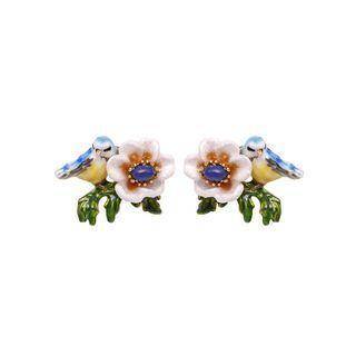 BELEC Fashion and Elegant Plated Gold Bird Flower Enamel Stud Earrings Golden - One Size