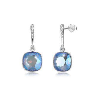 BELEC 925 Sterling Silver Elegant Fashion Simple Sparkling Multicolor Blue Austrian Element Crystal Earrings Silver - One Size