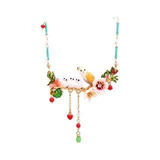 BELEC Fashion and Elegant Plated Gold Enamel Owl Flower Tassel Necklace with Cubic Zirconia Golden - One Size