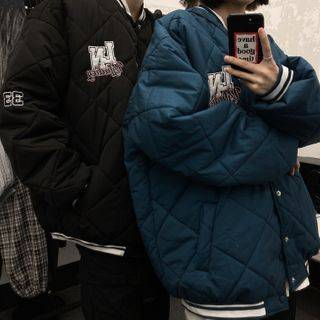 Malnia Home Couple Matching Printed Quilted Baseball Jacket