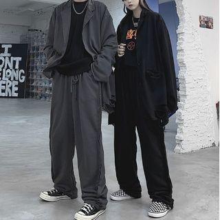 Malnia Home Couple Matching Ripped Button-Up Blazer / Jogger Pants