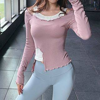 Kakarun Mock Two-Piece Long-Sleeve Cold-Shoulder Sports Top