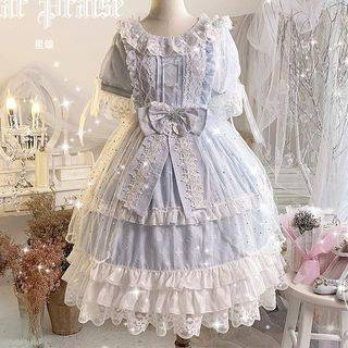 GOGO Girl Lace Trim Short-Sleeve Midi A-Line Dress / Faux-Pearl Choker / Bow Hairband / Hair Clip / Waist Accessory / Mesh Open Front Skirt / Set