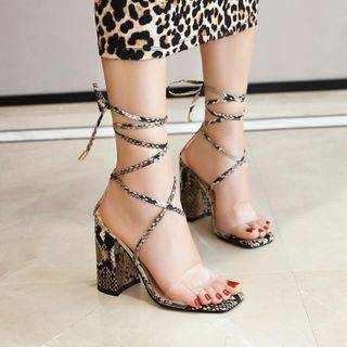 JY Shoes Snake Skin Print Chunky-Heel Lace Up Sandals