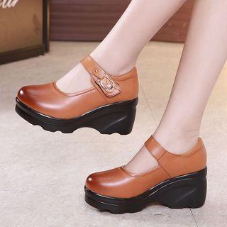 Obelie Platform Wedge Mary Jane Shoes