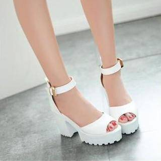 JY Shoes Ankle Strap Platform Heeled Sandals