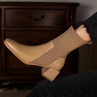 Queenie's Home Block-Heel Knit Panel Short Boots