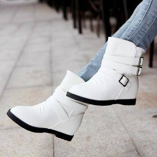 Shoes Galore Hidden Wedge Buckled Short Boots