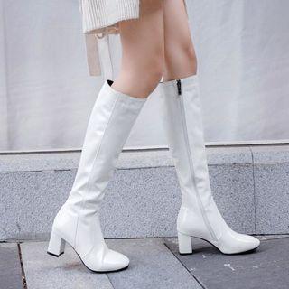 Shoes Galore Block Heel Side Zip Knee High Boots