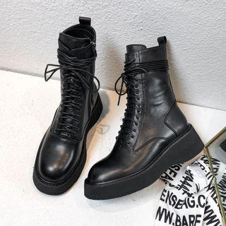 JY Shoes Faux Leather Lace-Up Platform Short Boots