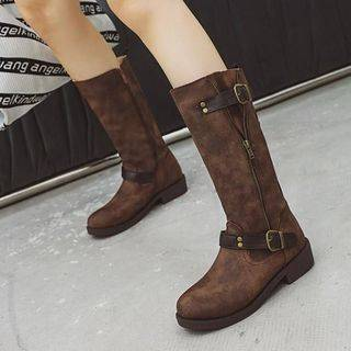 Shoes Galore Faux Leather Buckled Tall Boots