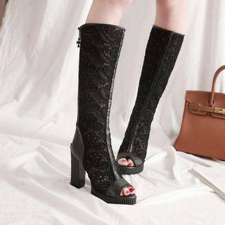 Shoes Galore Lace Panel Peep Toe Knee High Boots