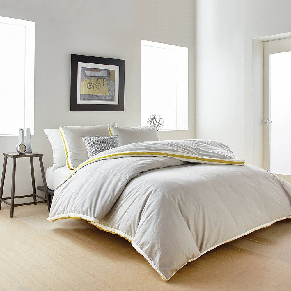 DKNY - Sport Stripe Duvet Cover - Silver/Citron - Super King