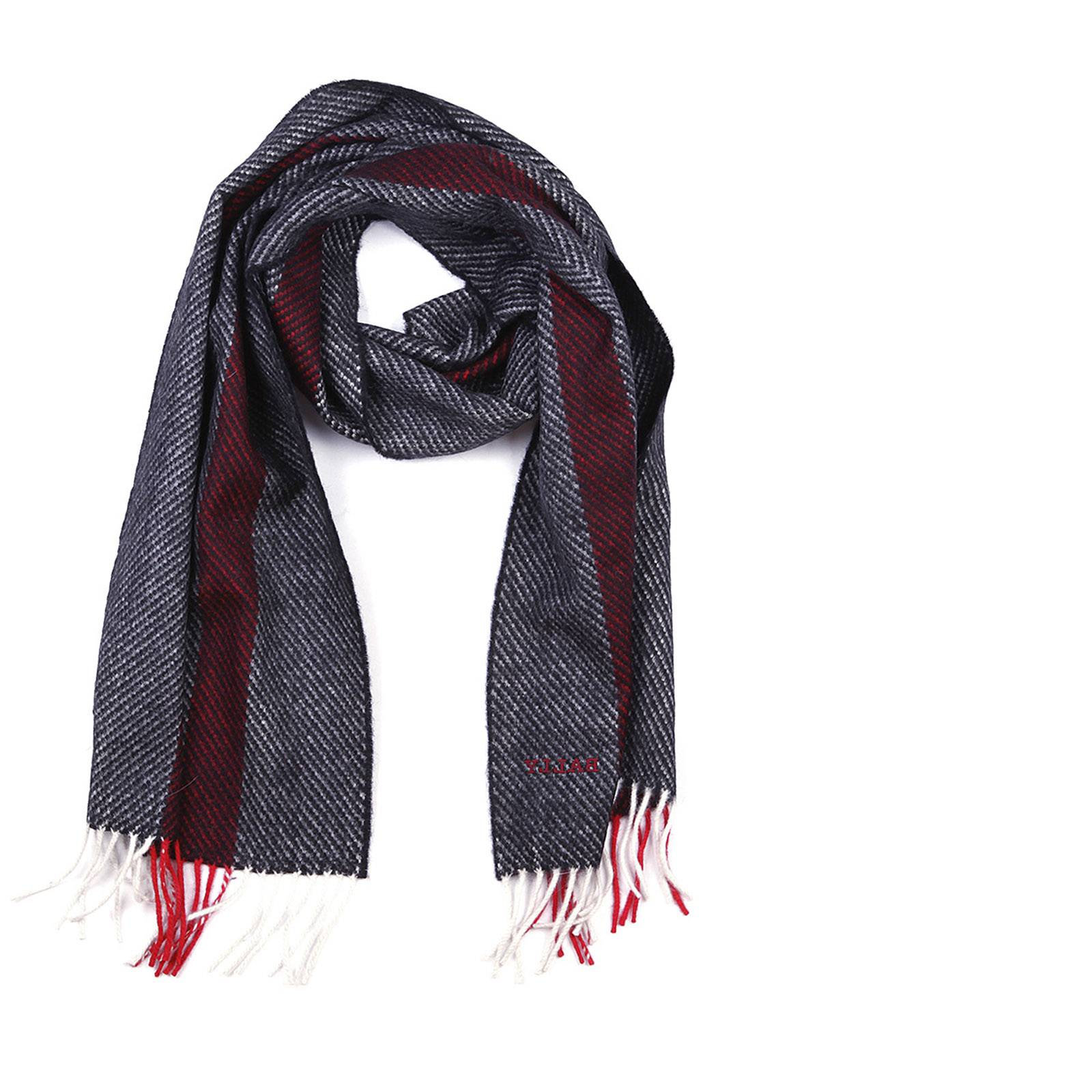 Bally Men's wool scarf multi bone jacquard  - Grey