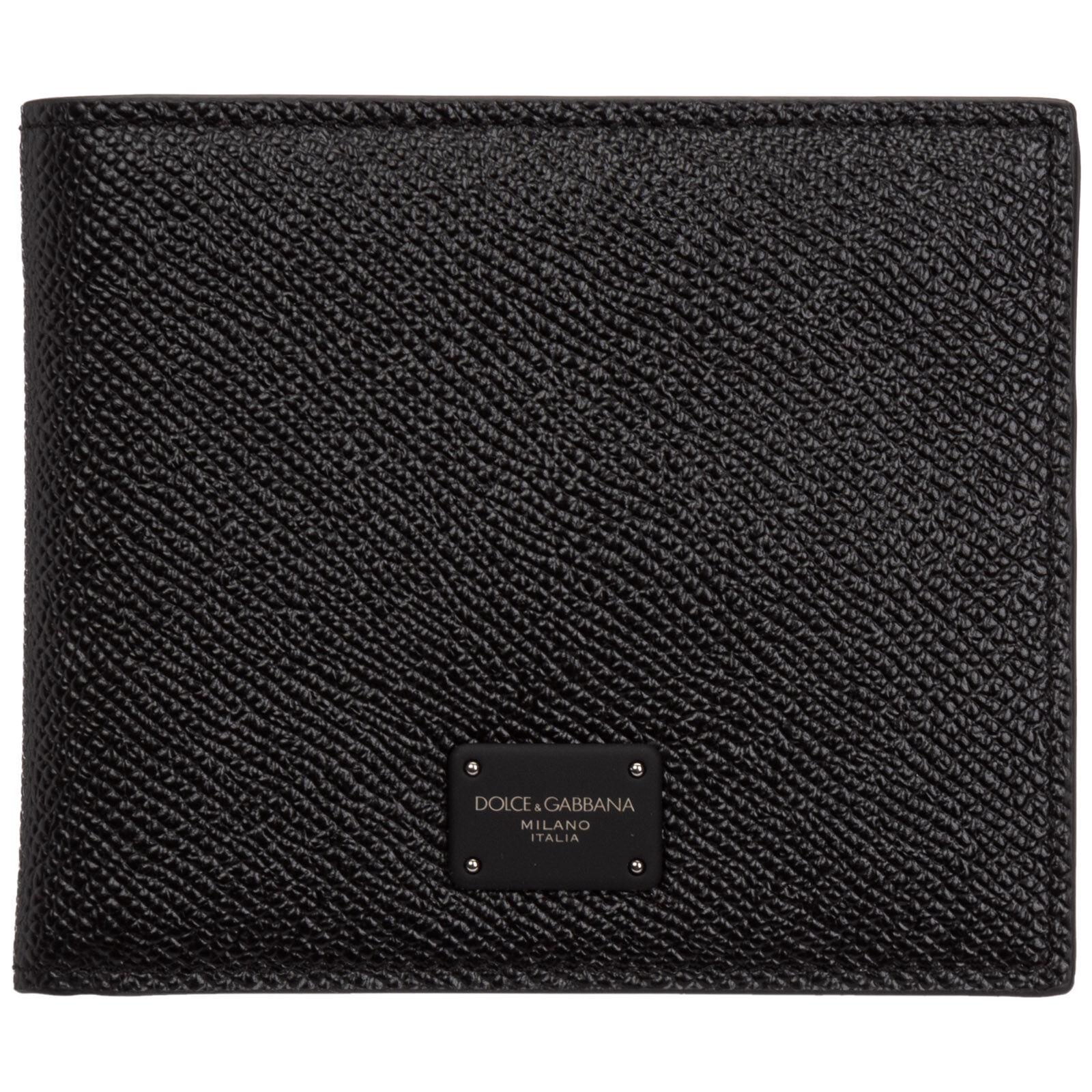 Dolce & Gabbana Men's genuine leather wallet credit card bifold  - Black
