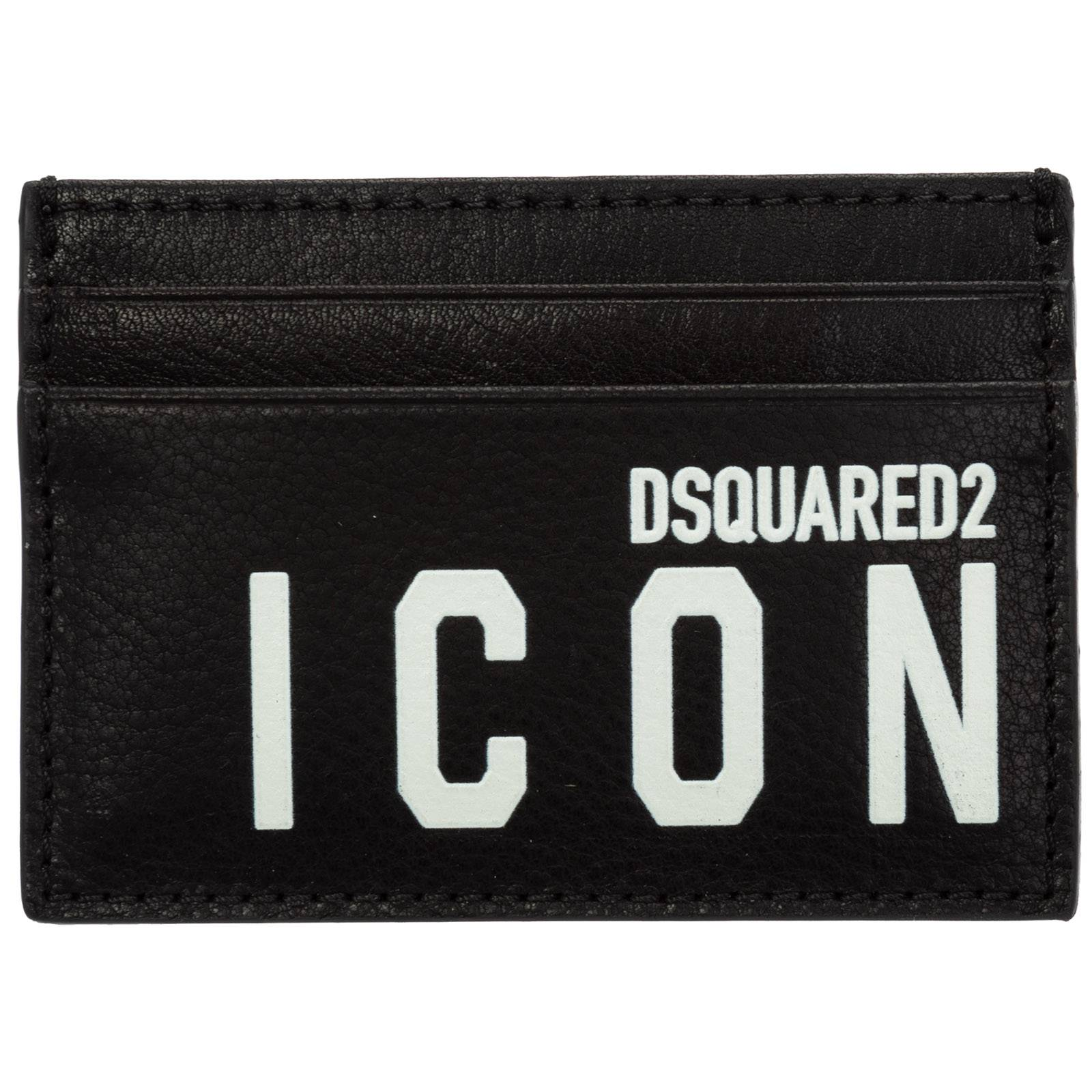 Dsquared2 Men's genuine leather credit card case holder wallet icon  - Black