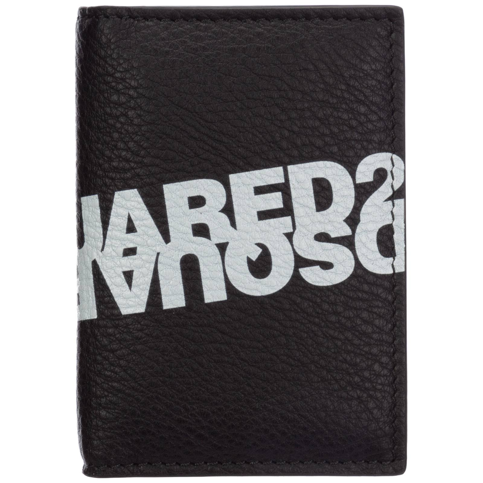 Dsquared2 Men's genuine leather money clip wallet  - Black