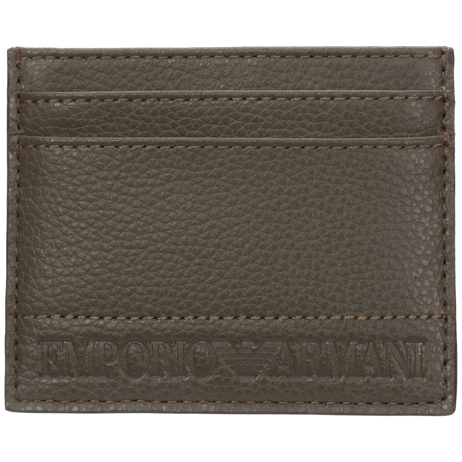 Emporio Armani Men's genuine leather credit card case holder wallet  - Green