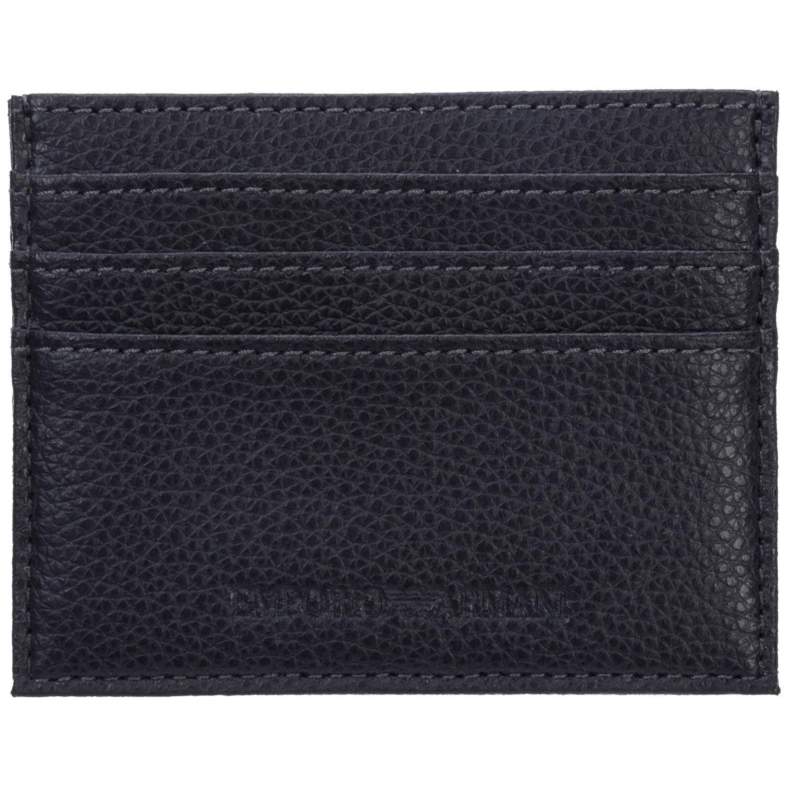 Emporio Armani Men's genuine leather credit card case holder wallet  - Blue