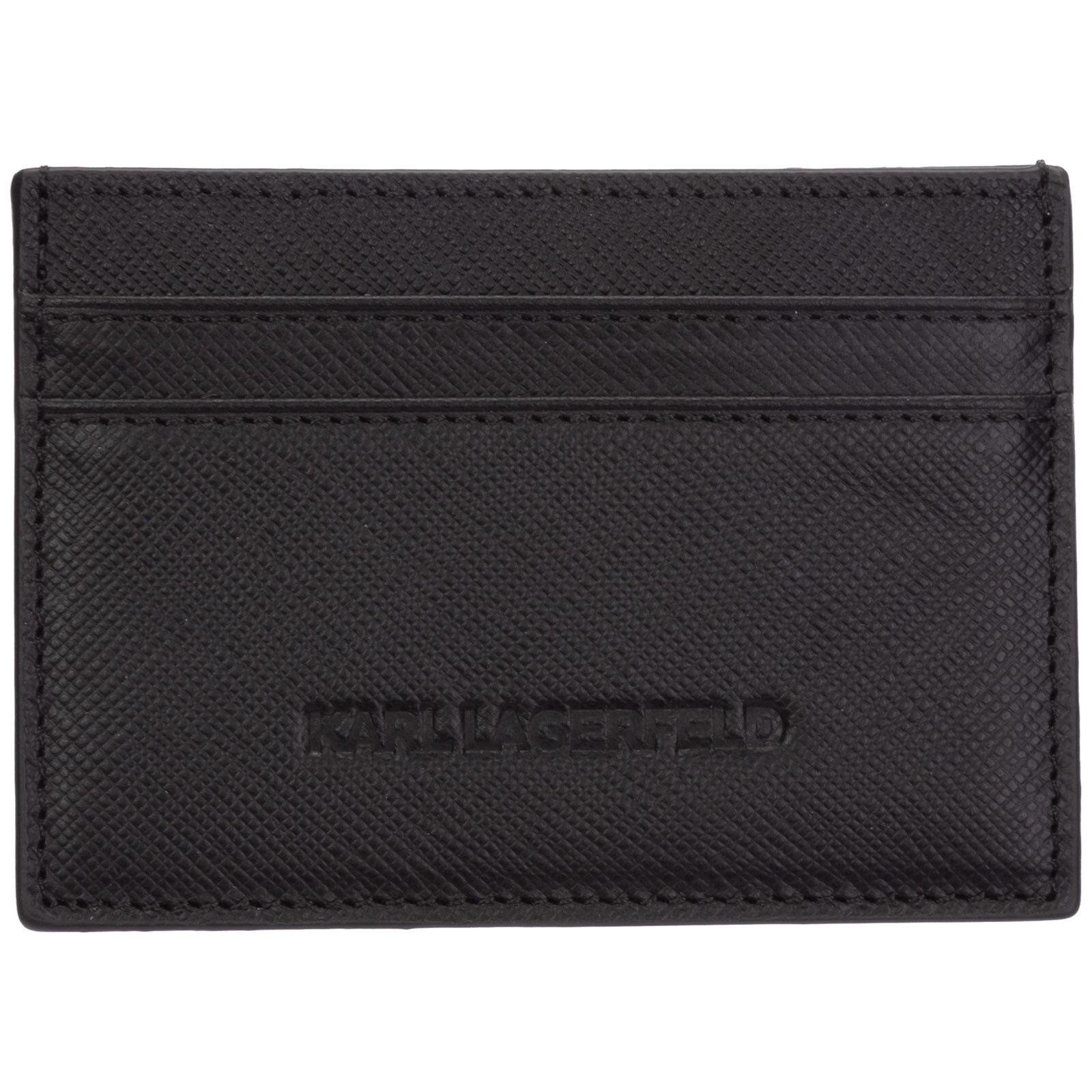 Karl Lagerfeld Men's genuine leather credit card case holder wallet  - Black