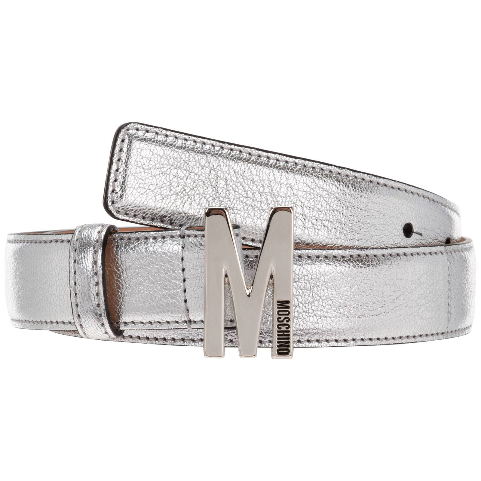Moschino Women's genuine leather belt  - Silver - Size: 44