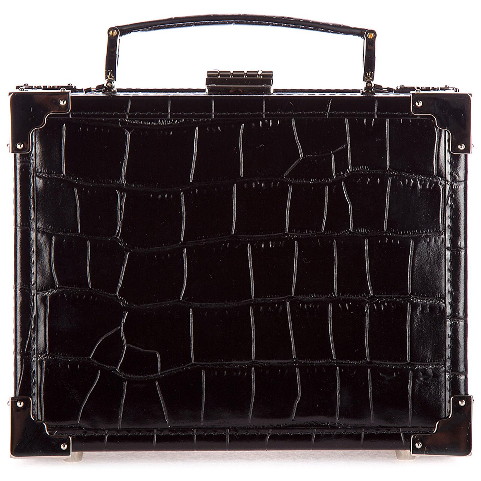 Aspinal of London Women's leather clutch handbag bag purse trunk  - Black
