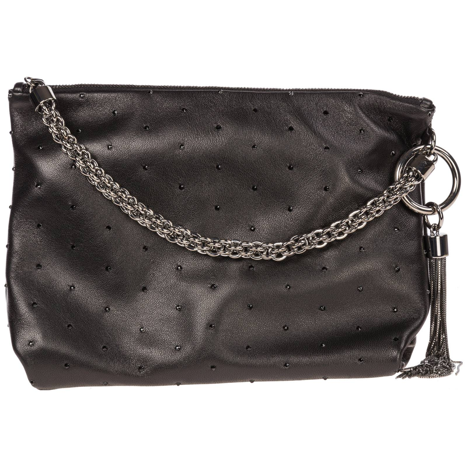 Jimmy Choo Women's leather clutch handbag bag purse callie  - Black