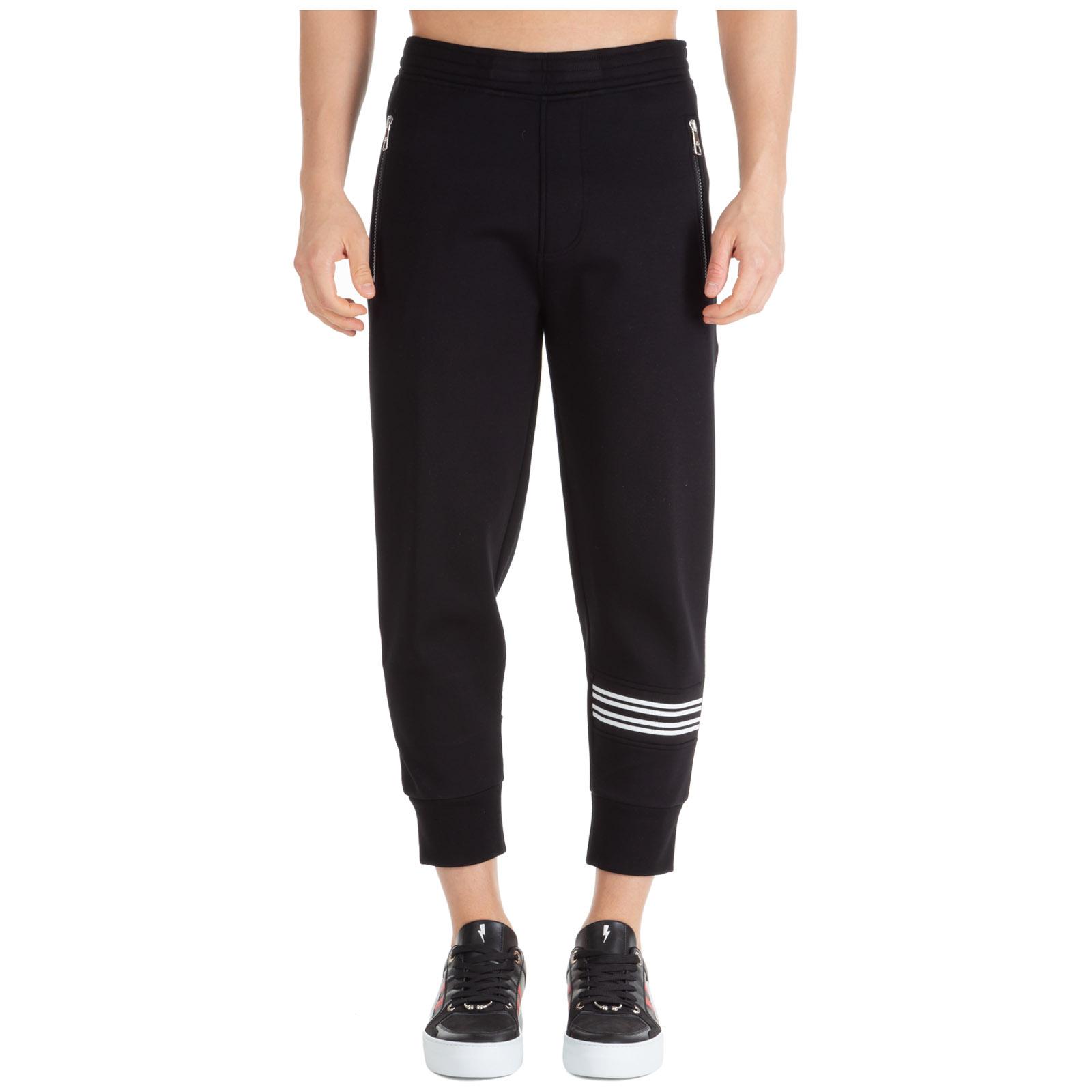 Neil Barrett Men's sport tracksuit trousers irregular stripe bonded  - Black - Size: Extra Large