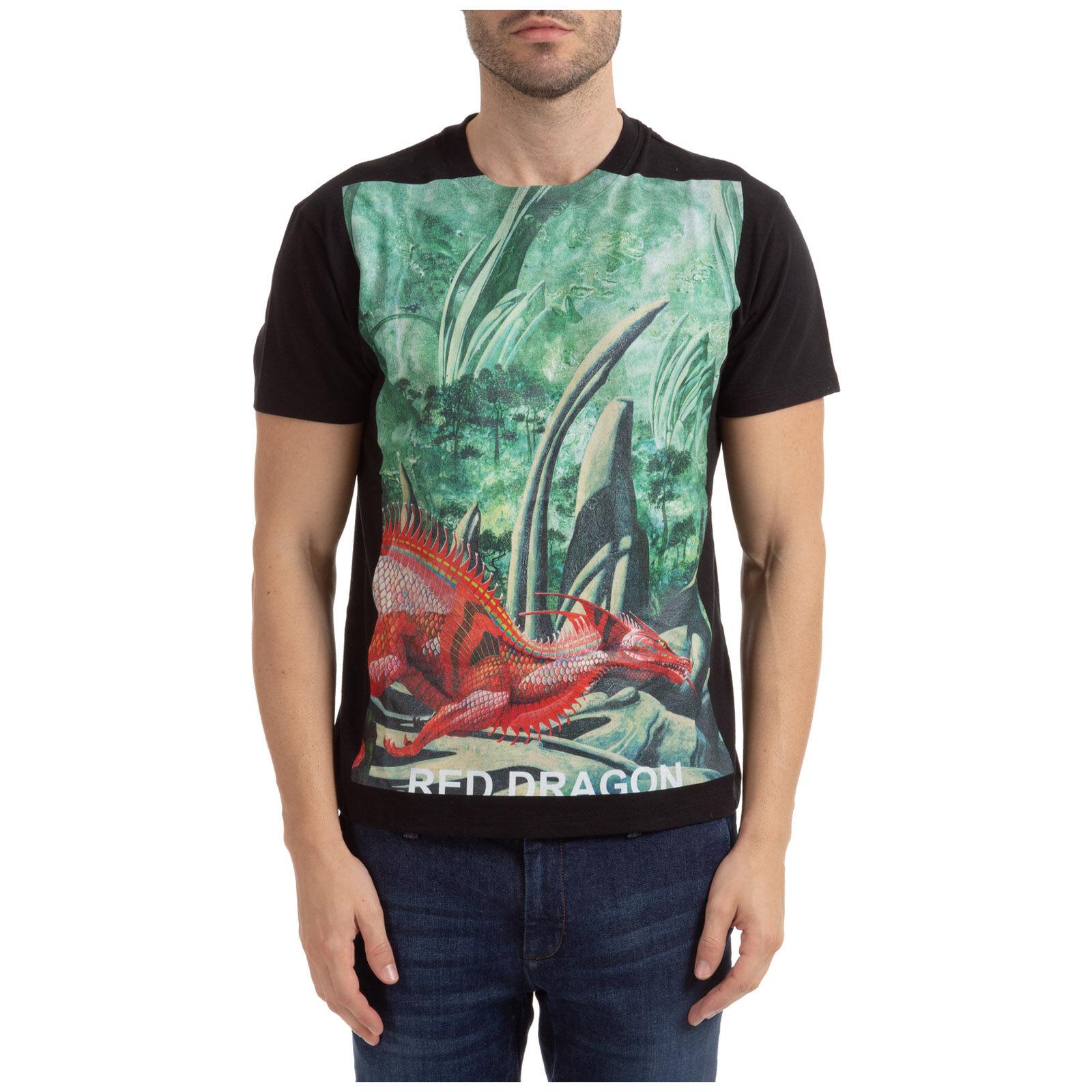 Valentino Men's short sleeve t-shirt crew neckline jumper dragons garden  - Black - Size: Small