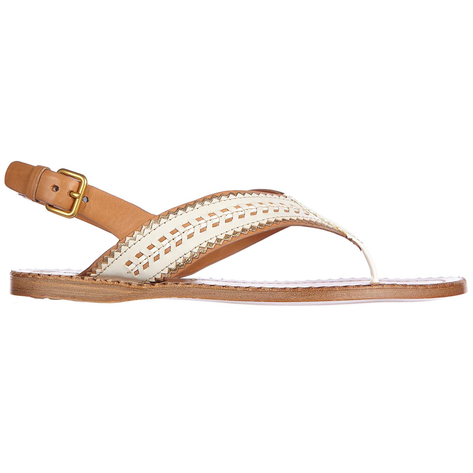 Car Shoe Women's leather flip flops sandals nature  - White - Size: 35.5