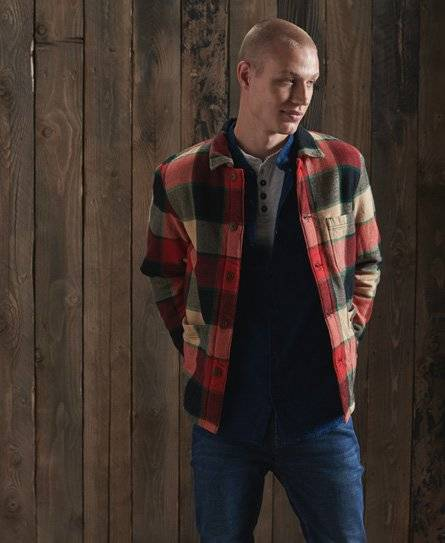 Superdry Utility Check Over Shirt [male]  size: M;  Red