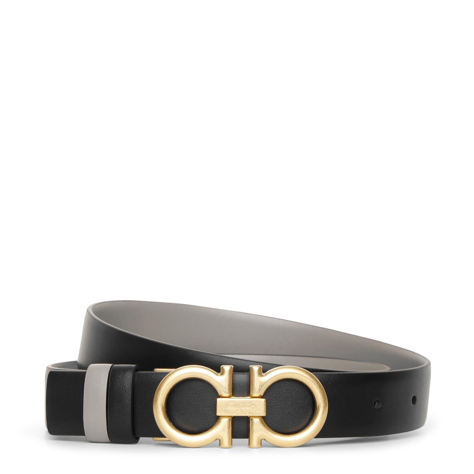 Salvatore Ferragamo Reversable and adjustable grey black leather belt  - black/grey - female - Size: 80