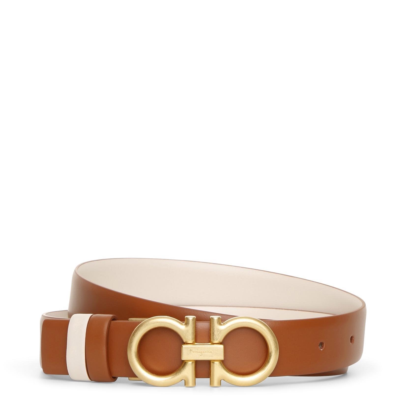 Salvatore Ferragamo Reversable and adjustable tan cream leather belt  - brown/beige - female - Size: 85