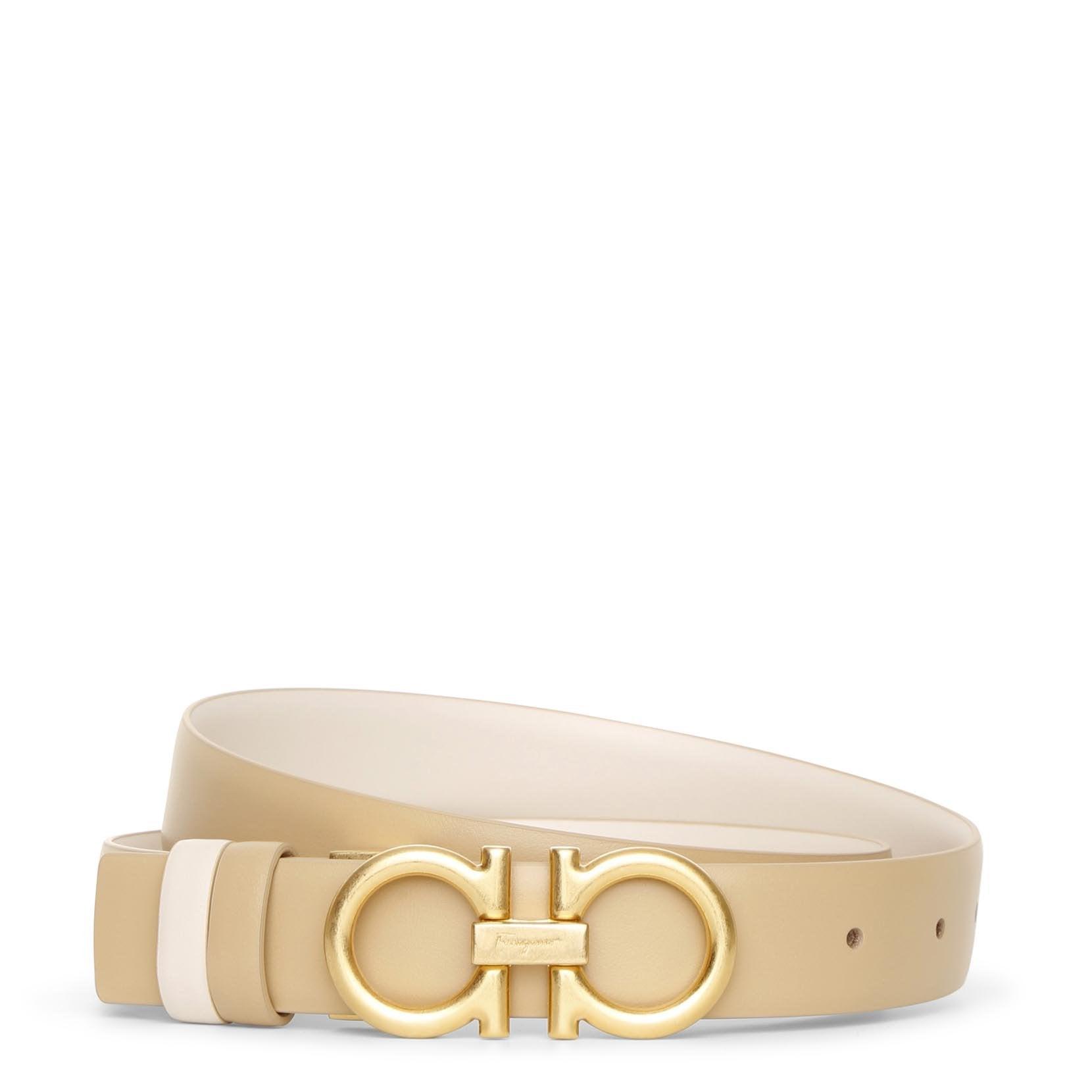 Salvatore Ferragamo Reversable and adjustable beige cream leather belt  - beige/white - female - Size: 95