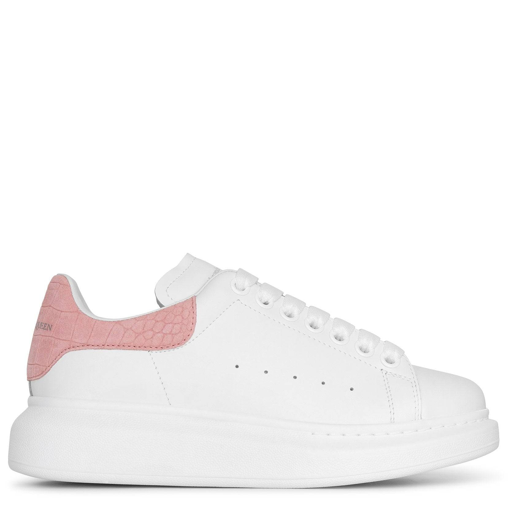 Alexander McQueen White and rose quartz classic sneakers  - white/pink - female - Size: 40