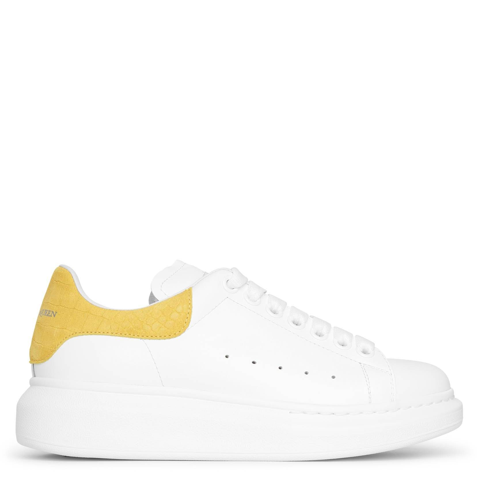 Alexander McQueen White and yellow printed suede classic sneakers  - white/yellow - female - Size: 36.5