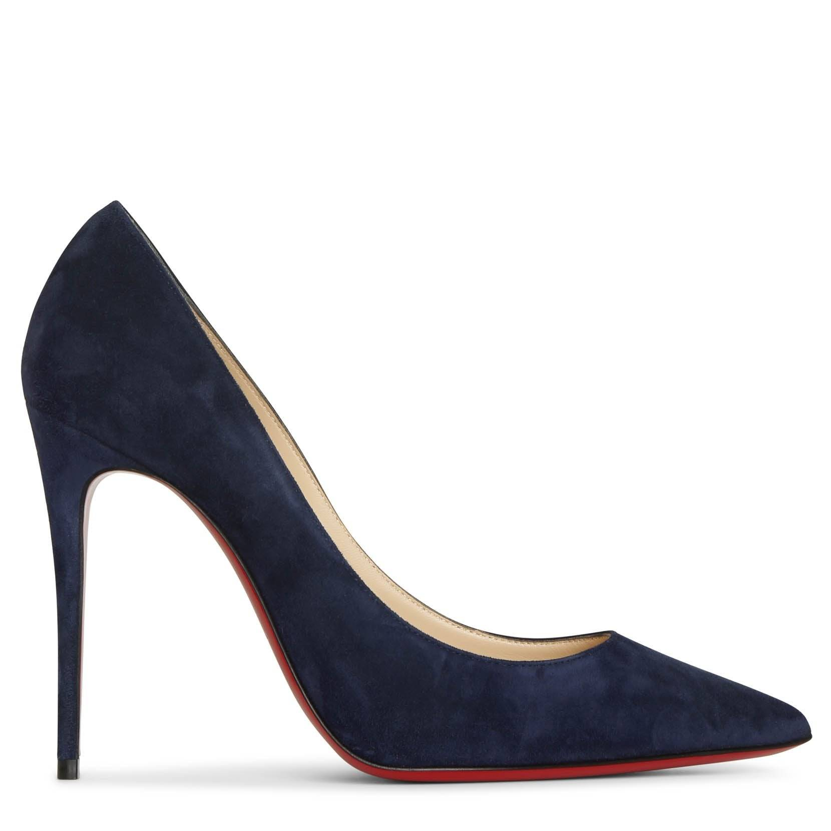 Christian Louboutin Kate 100 midnight blue suede pumps  - blue - female - Size: 36.5