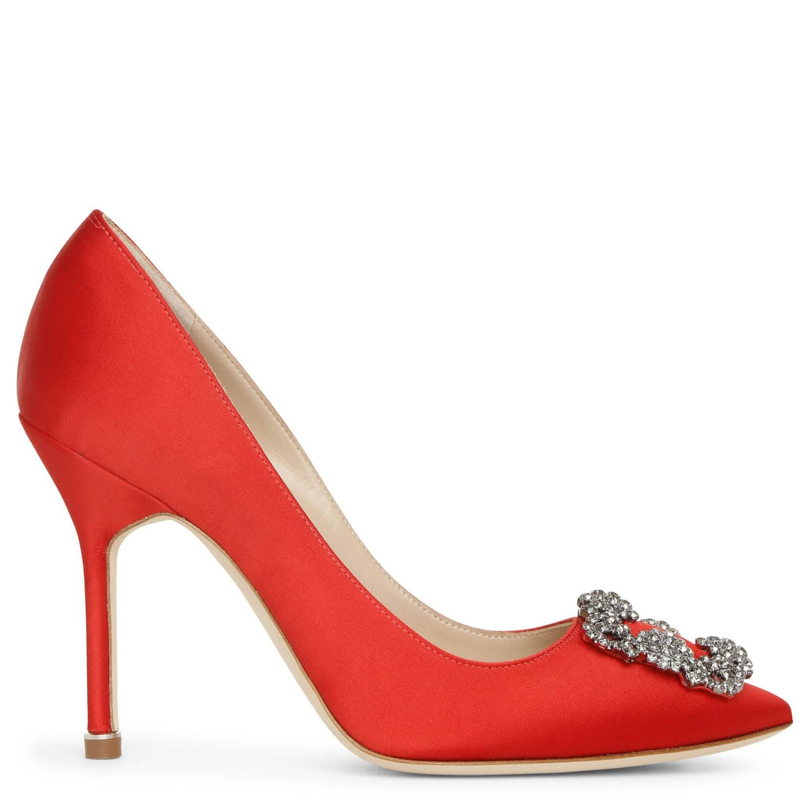 Manolo Blahnik Hangisi 105 red satin pumps  - Red - female - Size: 39,5
