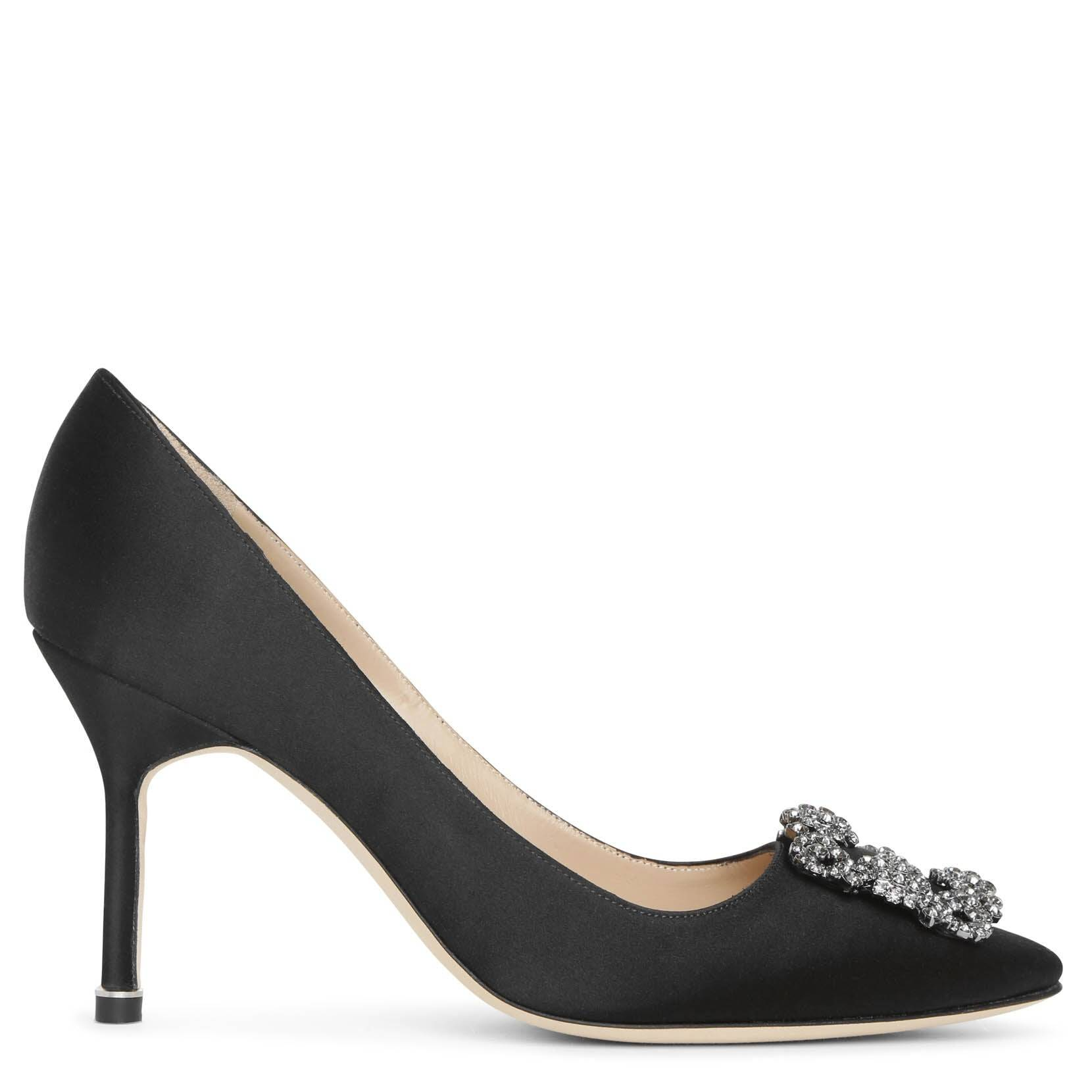 Manolo Blahnik Hangisi 90 black satin pumps  - Black - female - Size: 37,5