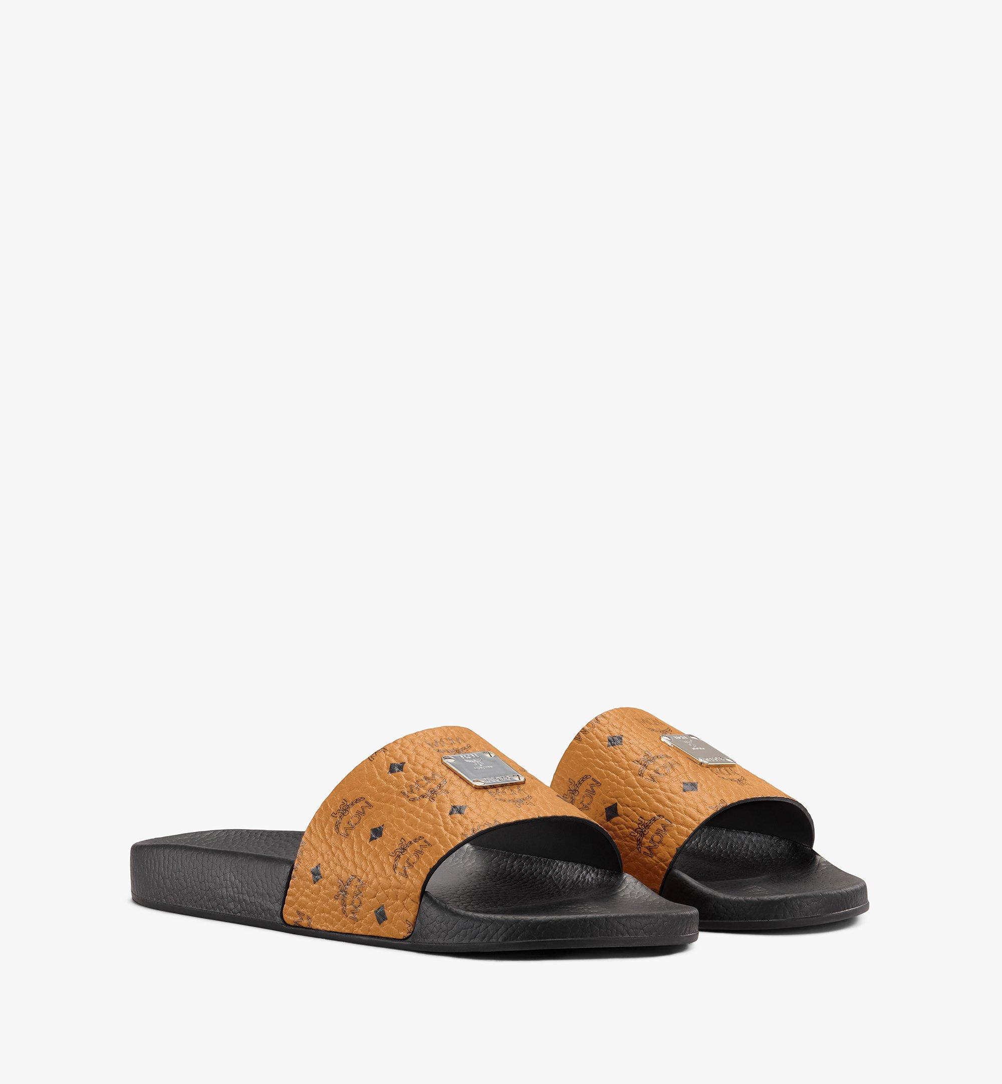 MCM Men's Visetos Slides  - Cognac - Size: 041