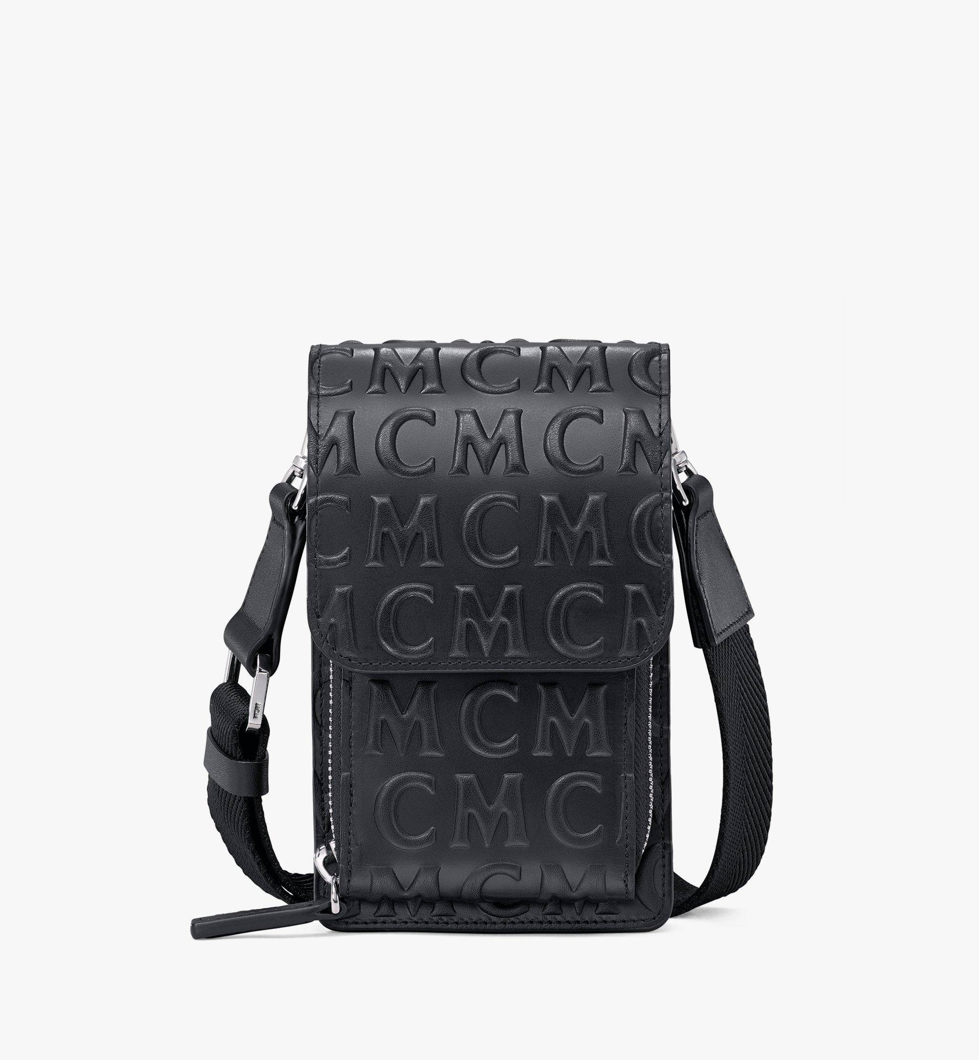 MCM Crossbody Phone Case In Mcm Monogram Leather  - BLACK - Size: FFF