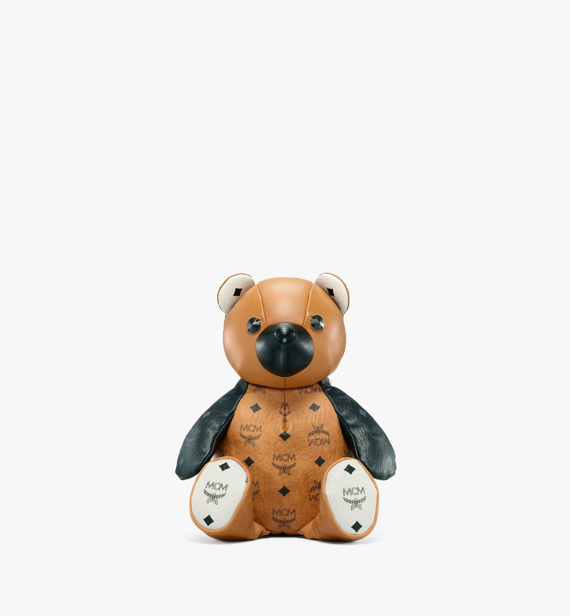 Mcm Zoo Bear Backpack In Visetos Leather Mix  - COGNAC - Size: MNI